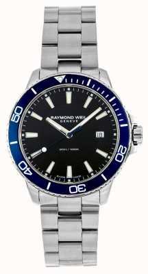 Raymond Weil Tango blauwe bezel roestvrij stalen horloge 8260-ST3-20001