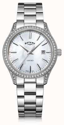 Rotary Dames oxford wit roestvrij staal quartz horloge LB05092/41