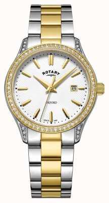 Rotary Dames oxford two tone roestvrij stalen quartz horloge LB05093/02