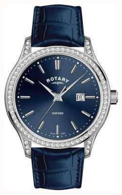 Rotary Blauw quartzhorloge met leren band voor dames LS05092/05