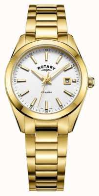 Rotary Dames havana verguld wit horloge LB05081/02