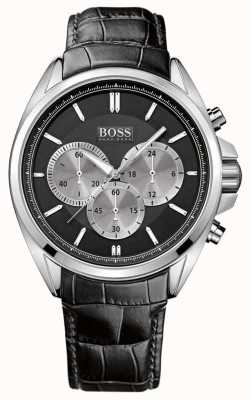 Hugo Boss Herenhorloge in zwart lederen chronograaf 1512879