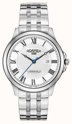Roamer Heren windsor witte wijzerplaat roestvrij stalen armband 706856411270