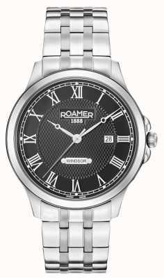 Roamer Heren windsor zwarte wijzerplaat roestvrij stalen armband 706856415270