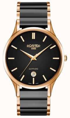 Roamer Heren c-line zwarte keramische horloge rosé gouden kast 657833495560
