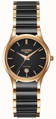 Roamer Dames c-line zwart keramiek horloge rosé goud kast 657844495560