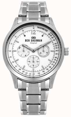 Ben Sherman Mens zilveren armband witte multifunctionele wijzerplaat WB073SM