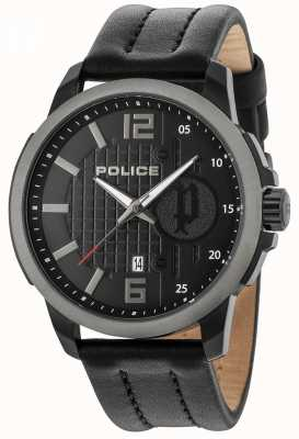 Police Zwarte lederen herenhorloge herenrecord zwart 15238JSBU/02