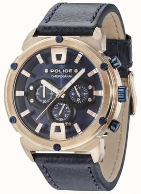 Police Armor ii rosé gouden kast donkerblauwe wijzerplaat donkerblauwe band 15047JSR/03