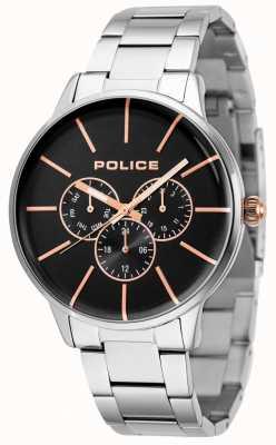 Police Snelle roestvrijstalen armband met zwarte wijzerplaat 14999JS/02M