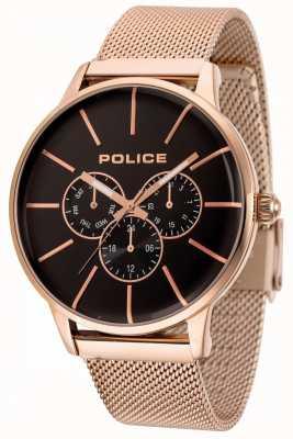 Police Swift roségouden mesh armband met zwarte wijzerplaat 14999JSR/02MM