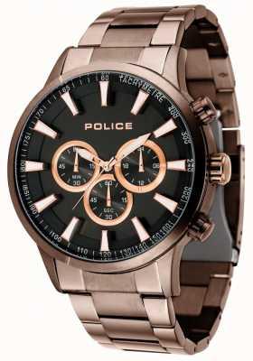 Police Momentum bruine armband met zwarte wijzerplaat 15000JSBN/02M