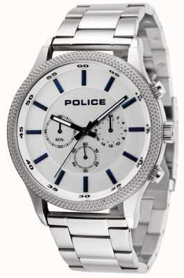 Police Pace roestvrijstalen armband met zilveren wijzerplaat 15002JS/04M