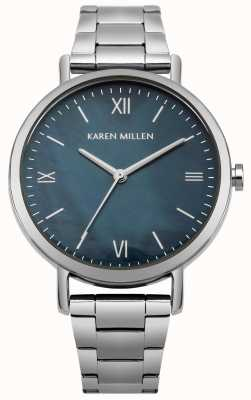 Karen Millen Blauwe parelmoeren wijzerplaat met roestvrijstalen deksel KM159USM