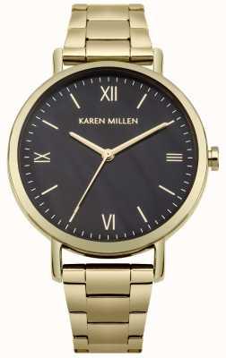 Karen Millen Zwarte parelmoeren wijzerplaat gouden roestvrijstalen armband KM159BGM