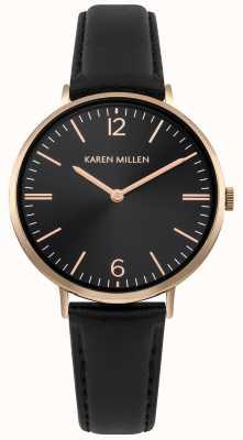 Karen Millen Zwarte zonnewijzerplaat met zwart lederen armband KM163BRG