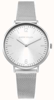 Karen Millen Witte zonnewijzerplaat met zilveren roestvrijstalen riem KM163SM