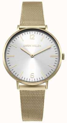 Karen Millen Witte zonnewijzerplaat met gouden roestvrijstalen armband KM163GM