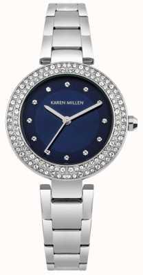 Karen Millen Marineblauwe sunray wijzerplaat met roestvrijstalen afgetopte armband KM164USM