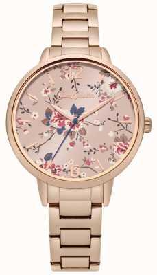 Cath Kidston Rose gouden armband met bloemenroze wijzerplaat CKL038RGM
