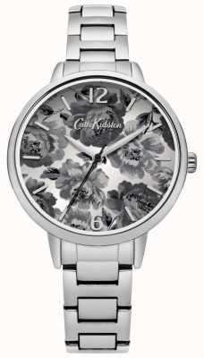 Cath Kidston Zilveren armband met zwart-witte florale wijzerplaat CKL038SM