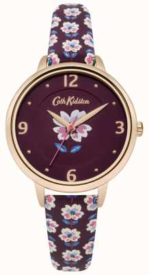 Cath Kidston Plum bloemenband horloge plum dial CKL042RRG