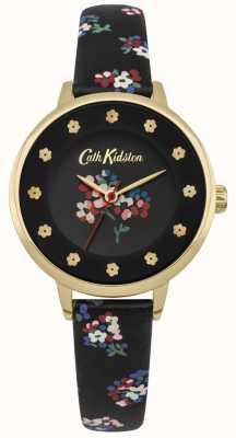 Cath Kidston Zwarte wijzerplaat bloemenprints bloem uur markers gouden kast CKL040BG