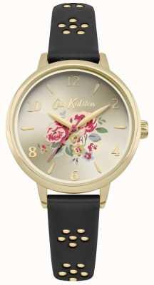 Cath Kidston Zwarte laser uitgesneden florale band gouden kast met florale wijzerplaat CKL043BG