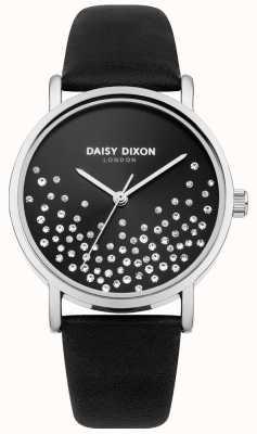 Daisy Dixon Zwarte band zwarte sunray wijzerplaat met glitter DD053BS