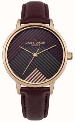 Daisy Dixon Donkerrode riem met donkerrood gestreepte wijzerplaat DD056VRG