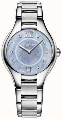 Raymond Weil Damessnoer diamant roestvrij staal armband blauwe wijzerplaat 5132-ST-00955