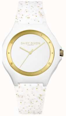 Daisy Dixon Wit / gouden glitter siliconen band DD031WG