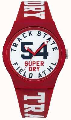 Superdry Track state print wijzerplaat witte wijzerplaat rode riem SYG182WR