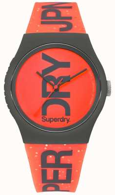 Superdry Urban rode zwarte wijzerplaat rubberen band SYL189CE