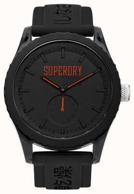 Superdry Tokio zwarte wijzerplaat oranje handen zwarte siliconen band SYG145BB