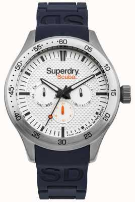 Superdry Scuba wit gepatenteerde wijzerplaat blauwe siliconen reliëfband SYG210U