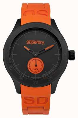 Superdry Scuba zwarte wijzerplaat oranje siliconen band SYG212OB