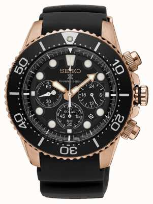 Seiko Prospex solar chronograaf rosé gouden kast zwarte rubberen band SSC618P1
