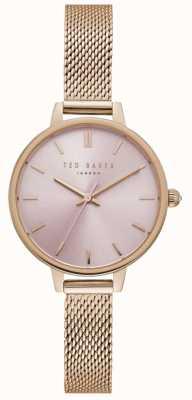 Ted Baker Womens ted baker pink wijzerplaat rose goud mesh armband TE50070004