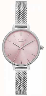 Ted Baker Dames kate pink wijzerplaat zilver roestvrij staal mesh armband TE50070003