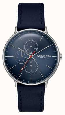 Kenneth Cole New York blauwe wijzerplaat datumweergave lederen armband KC15189001