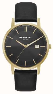 Kenneth Cole New York datum display zwarte wijzerplaat gouden kast zwart leer KC15202002