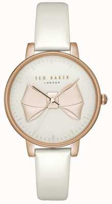 Ted Baker Dames beek rose gouden wijzerplaat rosé gouden kast wit leer TEC0185005