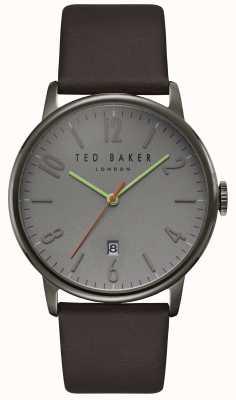 Ted Baker Daniel grijze wijzerplaat datumweergave donkerbruin lederen band TE15067004