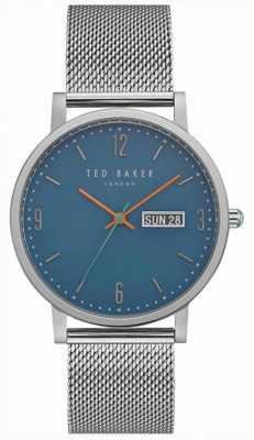 Ted Baker Dag van de subsidie datumweergave blauwe wijzerplaat roestvrij stalen gaas TE15196013