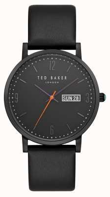 Ted Baker Dagaanduiding dagweergave zwart leer zwarte lederen band TE15196012