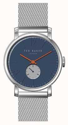 Ted Baker Oliver blauwe wijzerplaat zilver roestvrij staal mesh armband oranje TE15063006