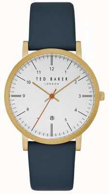 Ted Baker Samuel witte wijzerplaat gouden kast datum display blauwe lederen band TE15088003