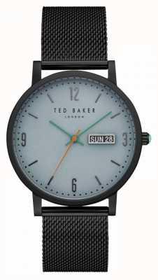 Ted Baker Grant lichtblauwe wijzerplaat zwarte pvd case mesh armband TE15196014