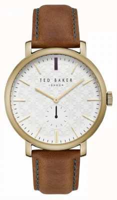 Ted Baker Trent crèmekleurige wijzerplaatkleurige leren band TE15193006